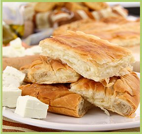 Traditional cheese pie with yoghurt and feta cheese