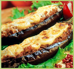 Greek baked stuffed eggplants with yoghurt - Papoutsakia