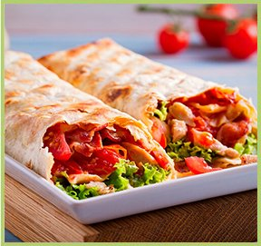 Tortillas with chicken, vegetables and yoghurt